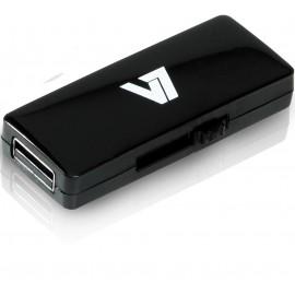 V7 Unidad de memoria flash USB 2.0 deslizante 8 GB, negra VU28GAR-BLK-2E