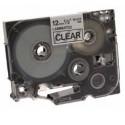C.12mm BROTHER P-touch transpar. negro cinta laminada estándar 8m