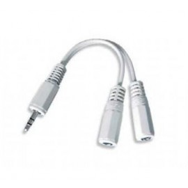 Adaptador con cable jack 3,5mm Macho a 2 Hembras 10cm blanco