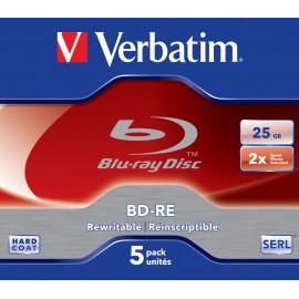 Verbatim BD-RE SL 25GB 2x 5 Pack Jewel Case BD-RE 25GB 5pieza(s) 43615