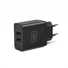 1Life pa:dual usb adaptador e inversor de corriente Interior Negro 1IFEPA2USB