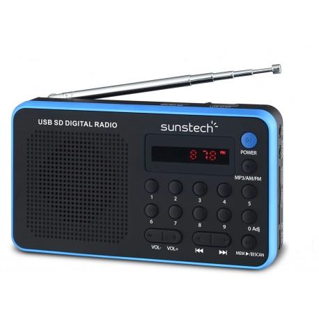 Sunstech Portable digital AM/FM radio Black Portátil Analógica Negro, Azul radio RPDS32BL