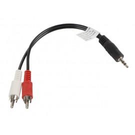 Lanberg CA-MJRC-10CC-0002-BK cable de audio 0,2 m 3,5mm 2 x RCA Negro, Rojo, Blanco ca-mjrc-10cc-0002-bk