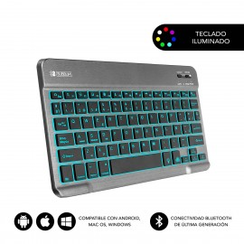 SUBBLIM Teclado Retroiluminado Smart Backlit BT Keyboard Grey - sub-kbt-smbl31
