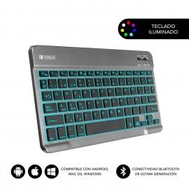 SUBBLIM Teclado Bluetooth Smart Backlit BT Keyboard Touchpad Grey - sub-kbt-smbt51