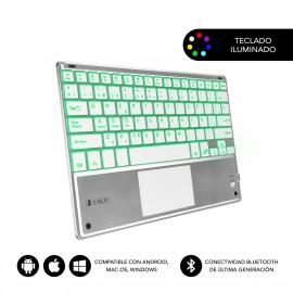 SUBBLIM Teclado Bluetooth Smart Backlit BT Keyboard Touchpad Silver - sub-kbt-smbt50