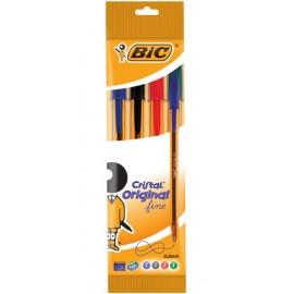 BIC 872725 bolígrafo Negro, Azul, Verde, Rojo Fino 4 pieza(s)